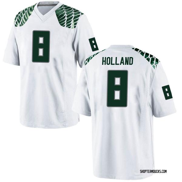 Men's Jevon Holland Oregon Ducks Nike Game White Football College Jersey