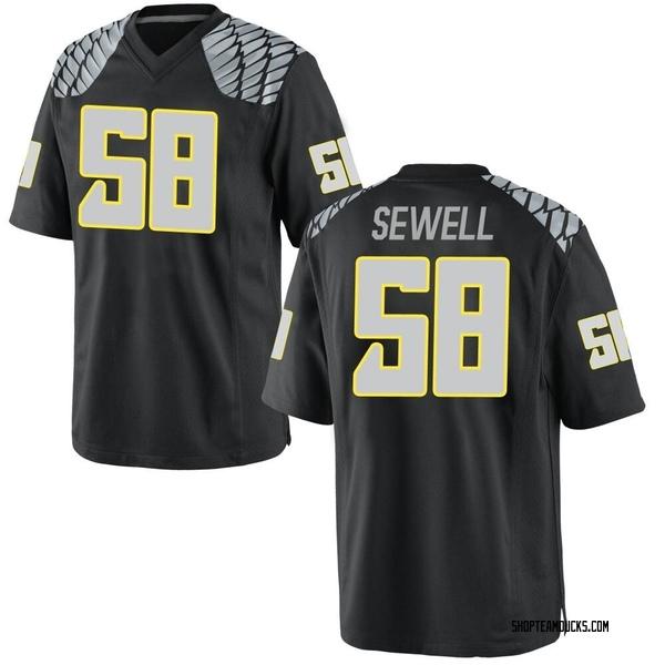 Men's Penei Sewell Oregon Ducks Nike Game Black Football College Jersey